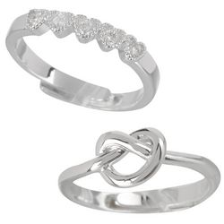 You & Me by CBC 2 Pair CZ Heart & Knot Ring