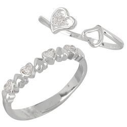 You & Me by CBC 2 Pc Heart Rhinestone Ring Set