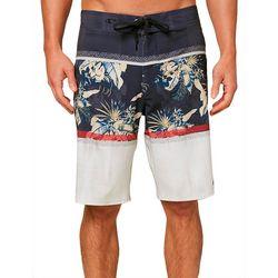 O'Neill Mens Corban Tropical Palm Colorblock Boardshorts