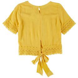 SELF ESTEEM Juniors Crochet Back Tie Top