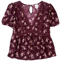 Juniors Baby Doll Floral V-neck Top