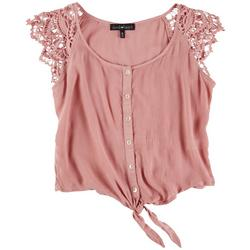 Juniors Solid Top With Lace Cap Sleeves