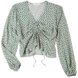 Juniors Floral Scrunched Top