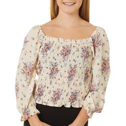 Rewind Juniors Floral Print Smocked Bodice Top