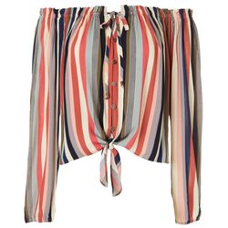 Jolt Juniors Striped Button Front Top