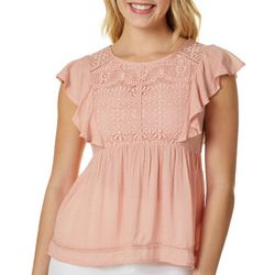 Jolt Juniors Lace Yoke Flutter Sleeve Top