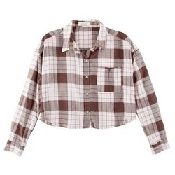 No Comment Juniors Plaid Cropped Frayed Shirt