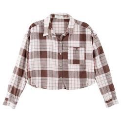 Juniors Plaid Cropped Frayed Shirt