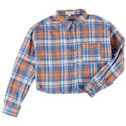No Comment Juniors Plaid Cropped Shirt
