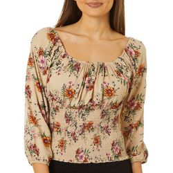 Crave Fame Juniors Square Neck Smocked Floral Top