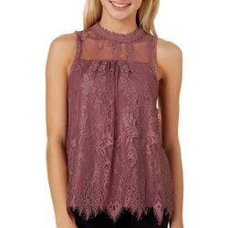Coco & Jamieson Juniors Solid Lace Sleeveless Top