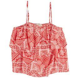 Hippie Rose Juniors Red Patchwork Crop Top