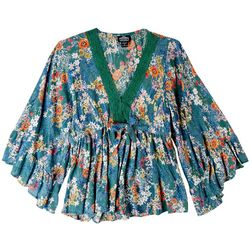 Angie Juniors Floral Print Long Sleeve Top
