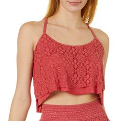 Angie Juniors Floral Crochet Lace Cropped Tank Top