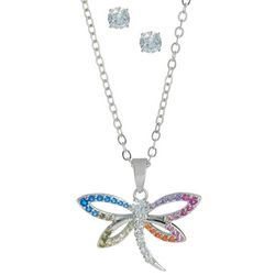 CZ Stud & Dragonfly Necklace Set