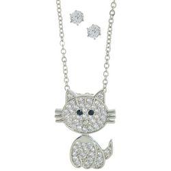 2Pc CZ Stud & Pave Cat Pendant Necklace
