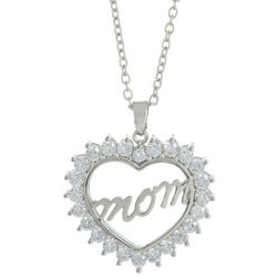 Bay Studio Mom CZ Heart  Pendant Necklace