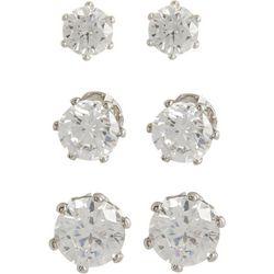 Bay Studio 3-pc. Silver Tone Clear CZ Earrings Set