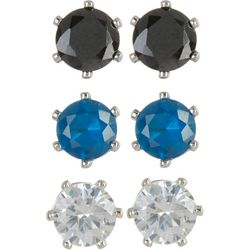Bay Studio Clear, Black & Blue 3-pc. CZ Earring Set