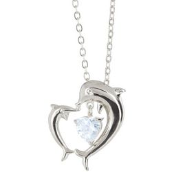 Bay Studio Double Dolphin CZ Silver Tone Pendant Necklace