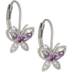 Bay Studio Purple & Clear CZ Butterfly Earrings