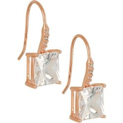 Bay Studio Rose Gold Tone Square CZ Drop Earrings