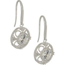 Bay Studio Silver Tone Filigree CZ Drop Earrings