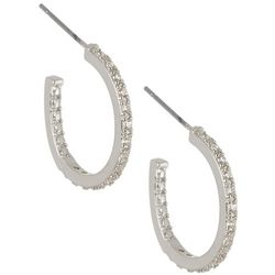 Bay Studio 20mm CZ Silver Tone C Hoop Earrings