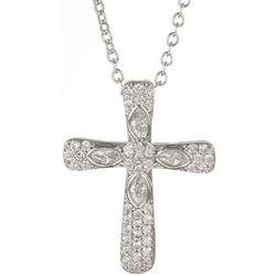 Bay Studio CZ Silver Tone Cross Pendant Necklace