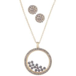 Vince Camuto Floating Rhinestones Necklace & Earring Set