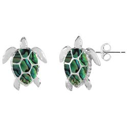 Beach Chic Silver Plated Sea Turtle Abalone Earrings