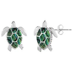 Silver Plated Sea Turtle Abalone Earrings
