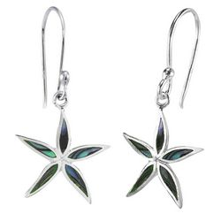 Beach Chic Silver Plated Starfish Abalone Earrings