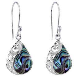 Beach Chic Silver Plated Teardrop Scroll Abalone Earrings