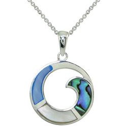 Beach Chic Silver Plated Abalone Wave Circle Necklace