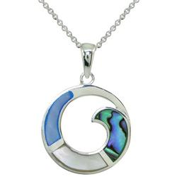 Silver Plated Abalone Wave Circle Necklace