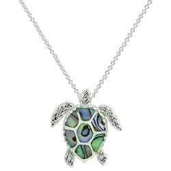 Beach Chic Silver Plated Abalone Sea Turtle Necklace
