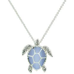 Beach Chic Silver Plated Sea Turtle Pendant Necklace