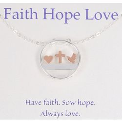 Gratitude & Grace Circle Faith Hope Love Necklace