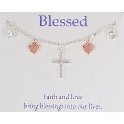 Gratitude & Grace Two Tone Multi Cross & Heart Necklace