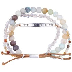 Footnotes Love Life Be Brave 3-Row Beaded Bracelet