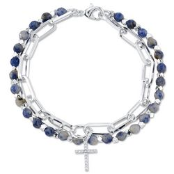 Footnotes Balance 2-Row Cross Charm Chain & Beaded Bracelet