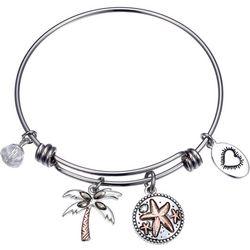 Footnotes Life's A Beach & Palm Tree Charm Bangle Bracelet