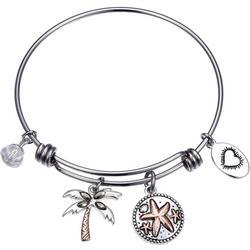 Life's A Beach & Palm Tree Charm Bangle Bracelet