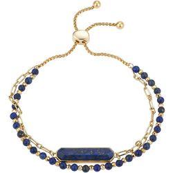 Footnotes Lapis Beaded Gold Tone Bracelet