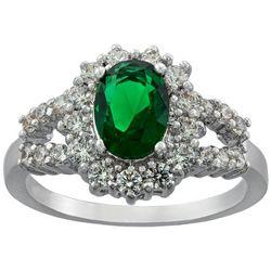 Ocean Treasures Emerald Cubic Zirconia Halo Ring