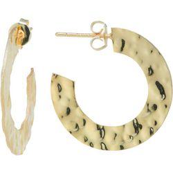 Starfish Boxed Gold Tone Hammered Rhinestone Earrings