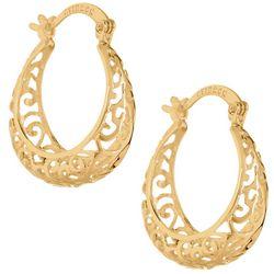 Starfish Box Gold Tone Filigree Hoop Earrings