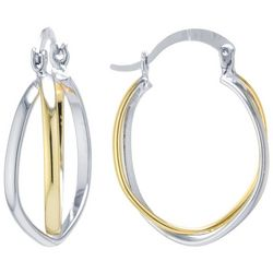 Starfish Boxed 30mm Two Tone Twisted Hoop Earrings