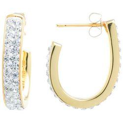 Starfish Boxed Gold Tone Rhinestone Hoop Earrings